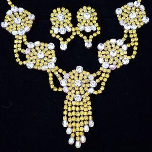 Vintage Czech Crystal Uranium Glass Necklace Set